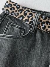 Winter Plush Leopard Denim Pants