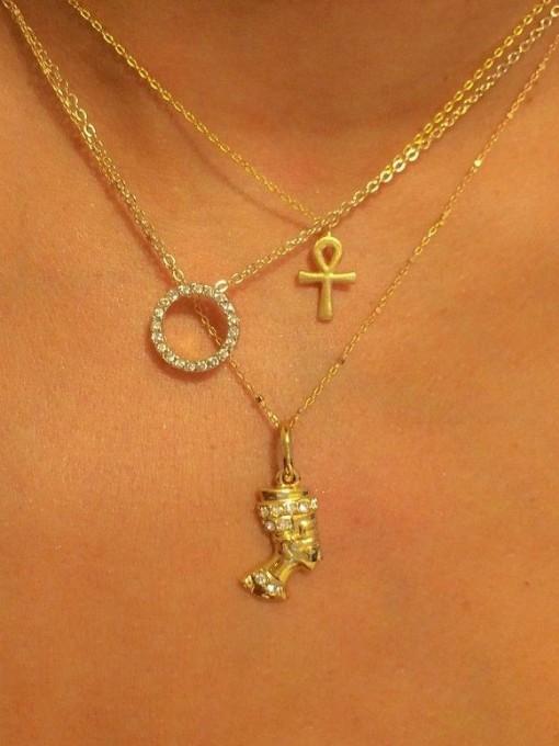 Round Rhinestone Simple Layered Necklace Women