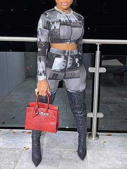 Fashion Printed Cropped Two Piece Pants Set
