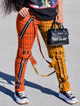 Streetwear Contrast Color Zipper Plaid Pants