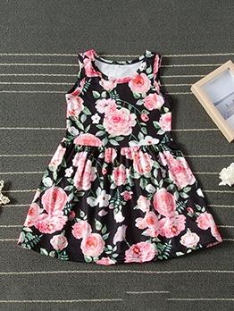 Colorblock Polka Dot Print Vest Dress For Girls