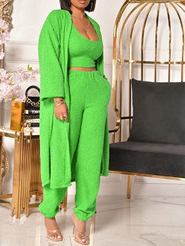 Euro Style Solid Fleece Three Piece Sets