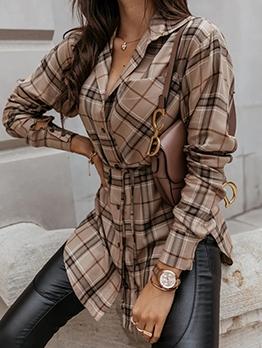 Autumn Plaid Long Sleeve Long Blouse For Women