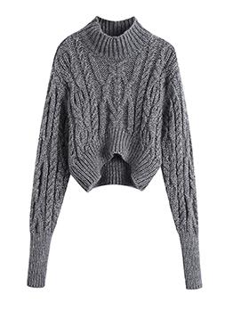 Fashion Pure Color Mock Neck Sweater