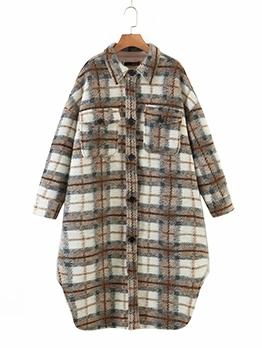 Fashion Plaid Loose Woolen Long Coat