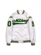 Embroidery Colorblock Baseball Jacket For Women