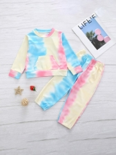 Casual Tie Dye Two Piece Pajamas Set For Baby