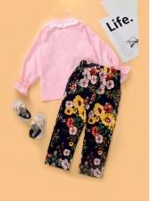 Lace Patch Floral Print Two Piece Girls Set