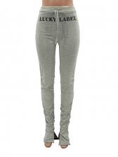 Printed Split Hem Cotton Stacked Pants