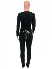 Chic Lace Up Solid Color 2 Piece Pants Set