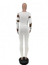 U Neck Printed Skinny 2 Piece Pants Set
