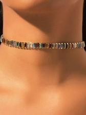 Personality Alloy Material Rhinestone Versatile Women Necklace