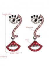 Create Eyes Lips Rhinestone Ball Long Earrings