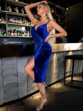 Sexy Camisole V Neck Pleuche Sequined Sleeveless Dress