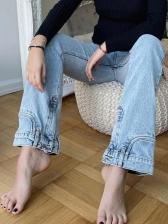 Casual Solid Wide Leg Denim Pants