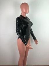 Club Solid Zipper Long Sleeve Bodysuit