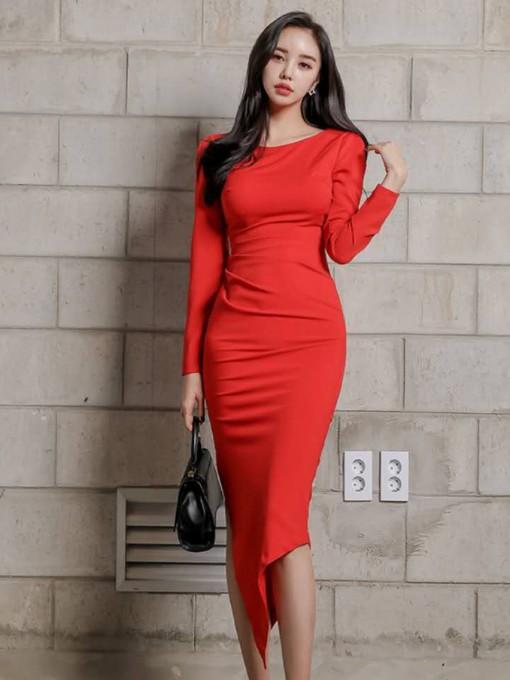 Elegant Pure Color Long Sleeve Bodycon Dress