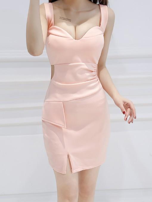 Nightclub Deep V Neck Skinny Sleeveless Dress
