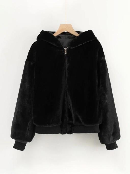 Fashion Solid Faux Fur Winter Coat