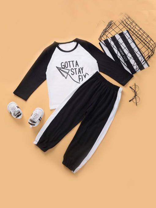 Contrast Color Letter Activewear Sets