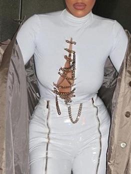 Fashion Chain Patchwork Long Sleeve Tee