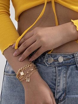 Vintage Lock Pendant Multilayer Bracelet For Women