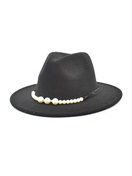Classic Look Wide Brim Faux-Pearl Fedora Hat