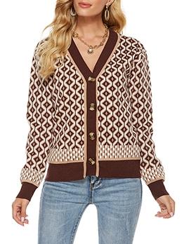 Vintage Plaid Stylish Women Cardigan Coat
