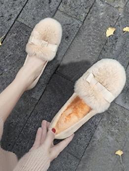 Faux Fur Round Toe Womens Flats