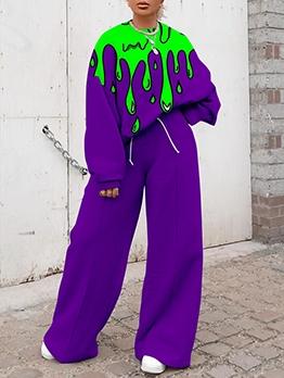 Stylish Contrast Color Two Piece Sets Women