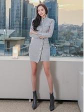 OL Style Single-Breasted Long Sleeve Dress