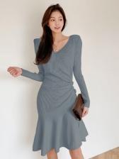 Leisure V Neck Knitted Long Sleeve Dress