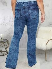 Plus Size Women Wide Leg Ladies Jeans