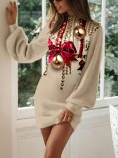 Christmas Jingle Bell Printed Lantern Long Sleeve Dress