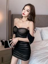 Backless Black Short Sleeve Bodycon Dresses