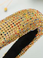 Colourful Rhinestone Wide Edge Ball Sponge Hair Hoop