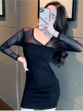 Sexy V Neck Black Long Sleeve Dress