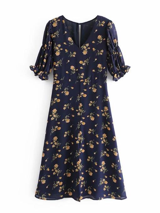 Vintage V Neck Short Sleeve Floral Dress