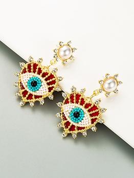 Devil Eyes Beads Rhinestone Trendy Earrings