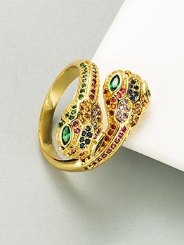 Snake Shape Geometric Zircon Fashion Ring
