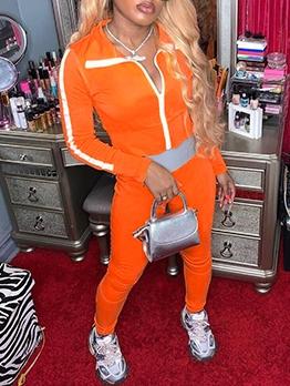 Sporty Wear Zipper Up Women Activewear Sets