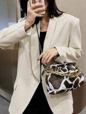 Animal Printing Chain Decor Women Armpit Bag