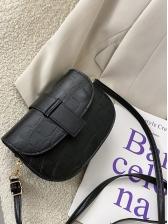 Fashion Crocodile Pattern Solid Saddle Bag