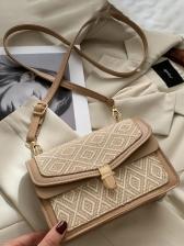 Rhombic Lattice Threaded Square Pu Bag