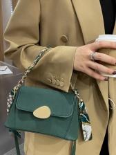 Silk Scarf Decor Matt Crossbody Bag Fashion