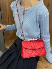 Faux Pearl Handle Rhombic Bag Elegant