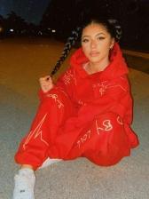 Print Register Hooded Collar Womens Sweatsuits