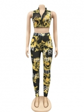Gauze Patchwork Letter Cropped Two Piece Sets