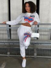 Printed Crewneck Sweatshirt 2 Piece Pants Set