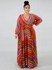 V Collar Printed Chiffon Plus Size Maxi Dresses